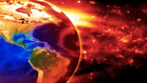 concept image of the earth slowly burning with pollution, showing north central and south america. earth based on nasa image.