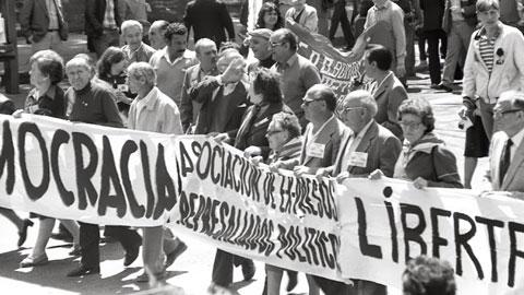 Imagen de la manifestación del 1º de Mayo en Madrid en 1979. (Foto: Prudencio Morales)