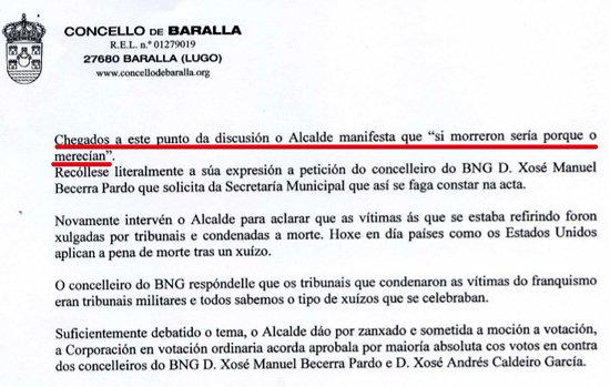 Captura del acta del Pleno del Ayuntamiento de Baralla y la afirmación de su alcalde, el popular Manuel González Capón.