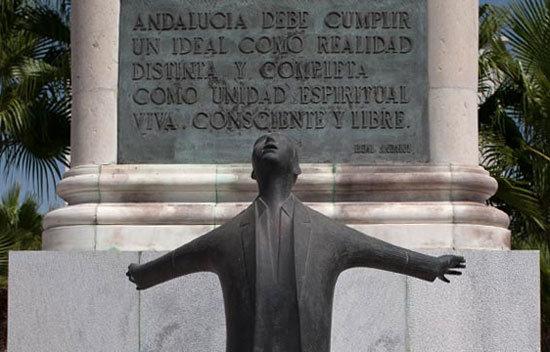 Monumento ubicado en el lugar en el que asesinaron a Blas Infante.