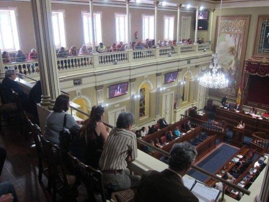 Afectados por los 'casos de bebés robados' en el Parlamento de Canarias. (Foto: Europapress)