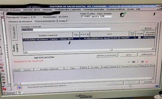 Imagen de un pantallazo filtrado a la farmacéutica Boehringer, con datos de un paciente.