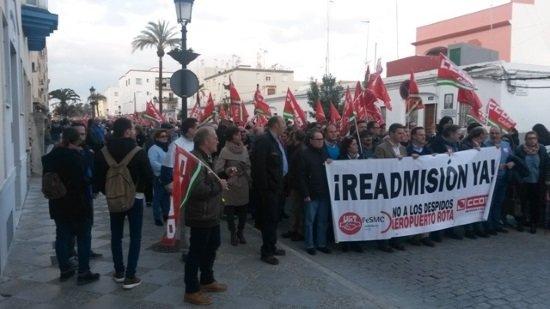 Manifestación de los trabajadores el pasado mes de marzo. (Foto:CCOO)