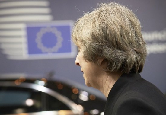 EP President Antonio TAJANI and EP Brexit coordinator Guy VERHOFSTADT (ALDE,BE), receive British Prime Minister Theresa MAY to discuss on the latest developments in the negotiations on the British departure from the European Union