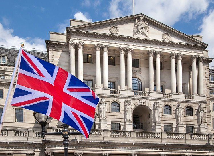 Bank of England and British flag concept illustration