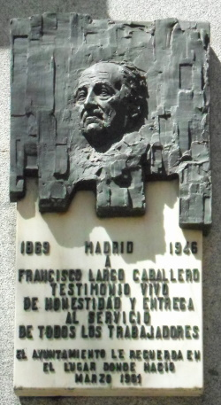Plaque dedicated to FRANCISCO LARGO CABALLERO at the facade of Chamberi District Hall in Madrid (Spain).